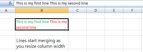 Lines Merging in Excel Cell