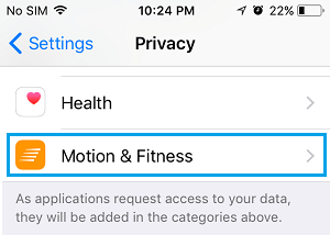 Motion and Fitness Settings Option on iPhone