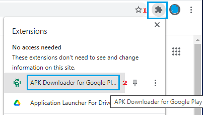 Open APK Downloader for Google Play Store in Chrome Browser