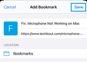 Save Webpage to Bookmarks Folder on iPhone