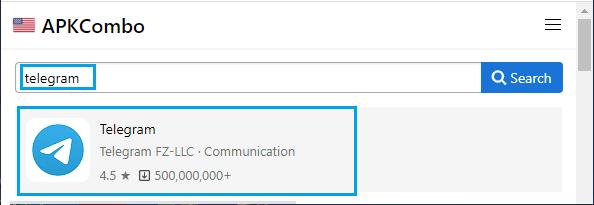 Search APK Files on APKCombo Site