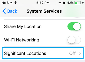 Significant Locations Settings Option on iPhone
