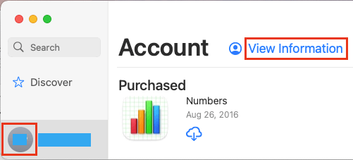 View Account Information on Mac