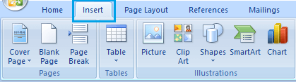 Microsoft Words Insert Tab