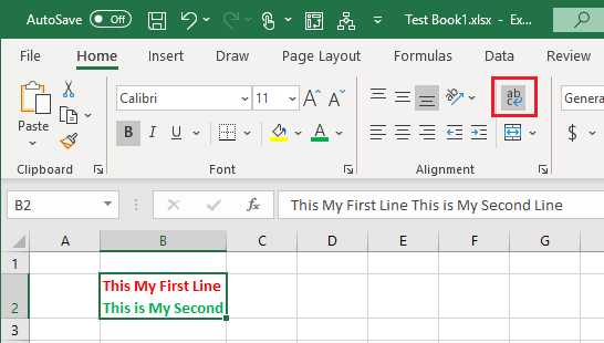 Wrap Text Option in Excel