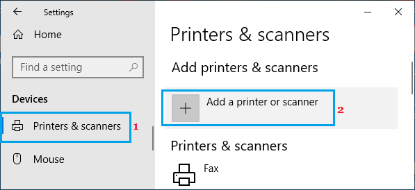 Add Printer or Scanner Option in Windows