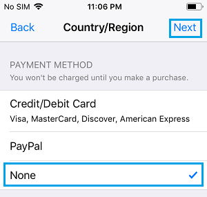 Select None Payment Information