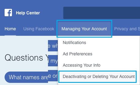 Deactivating or deleting your account Option in Facebook on PC or Mac