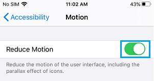 Enable Reduce Motion Option on iPhone