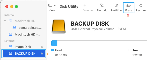 Erase Disk Option in Disk Utility on Mac