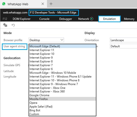Change Developer Tools User Agent String Value