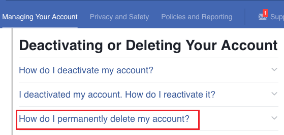 How do i permanently delete my account Option in Facebook