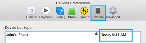 iTunes Device Backups Screen