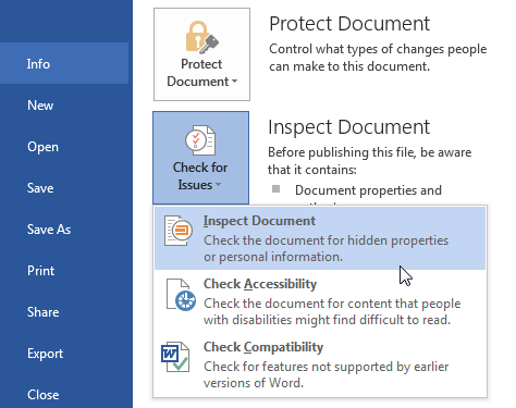 Inspect Document For Hidden Data Office 2013