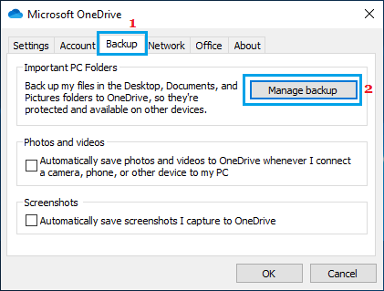 Manage OneDrive Backups on Windows PC