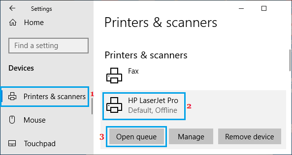 Open Print Queue Option in Windows