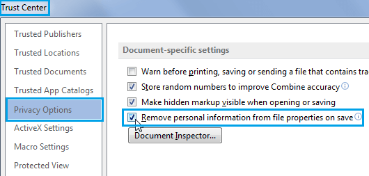 Prevent Office 2013 From Saving Personal Information