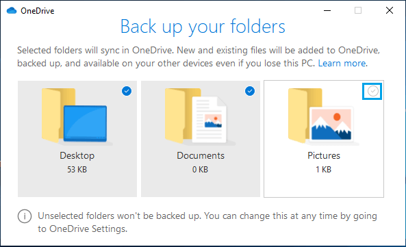 Prevent Desktop, Picture and Documents Auto Backup to OneDrive