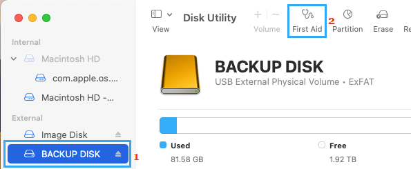 Run First Aid Option in Disk Utility on Mac