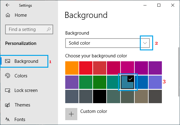 Select Desktop Background Colour