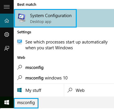 System Configuration App in Windows 10