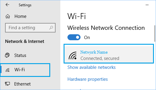 Open Network Properties in Windows 10