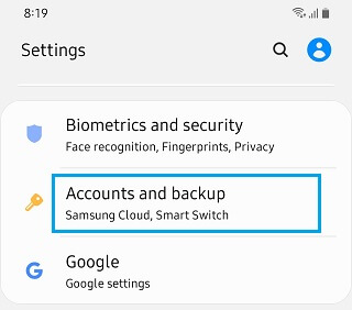 Accounts and Backup Option Android Phone