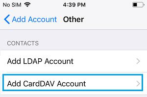 Add CardDAV Account Option on iPhone