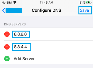 Add Google DNS Servers on iPhone