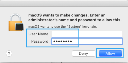 Enter Admin Password to Allow Keychain Access on Mac