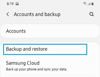 Backup And Restore Option on Android Phone