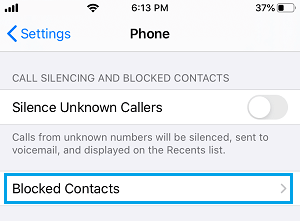 Blocked Contacts Settings Option on iPhone