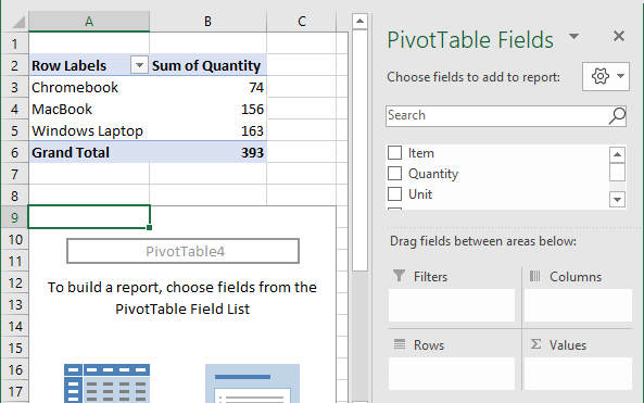 Build Pivot Table Report Using PivotTable Fields List