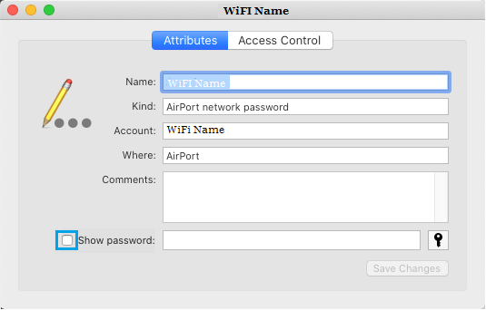 Show WiFi Password Option on Mac
