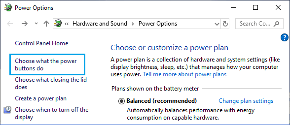 Choose What Power Buttons Do