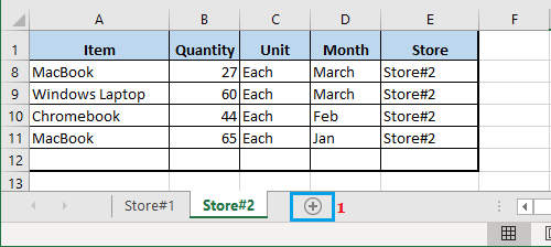 Create New Worksheet in Excel
