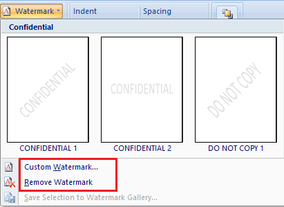 Choose Watermark Type in Microsoft Word 2010 and 2007