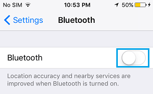 Disable Bluetooth on iPhone
