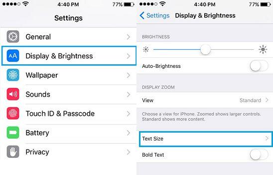 iPhone Display Brightness Settings