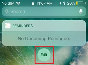 Edit Option on iPhone Widgets Screen