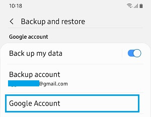 Google Account Option on Android Phone