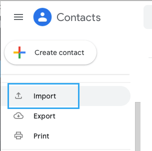Import Option in Gmail Contacts App