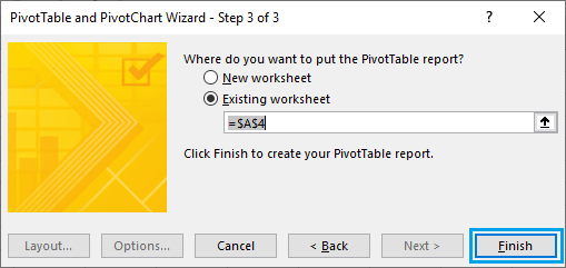 Create Pivot Table in Existing Worksheet