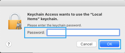 Enter Local User Password to Allow Keychain Access on Mac