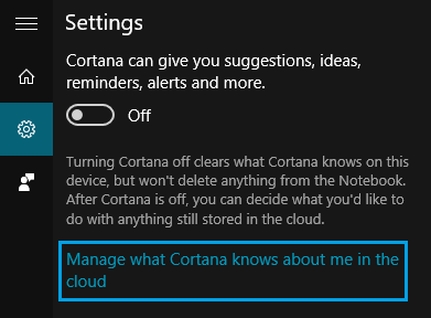 Manage What Cortana Knows