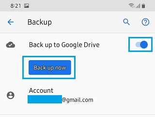 Manually Backup Android Phone to Google