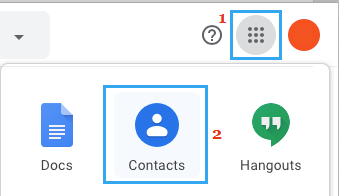 Apps Icon and Contacts Tab in Gmail