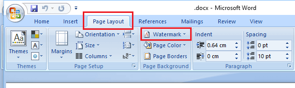 Page Layout Tab and Watermark Option in Microsoft Word 2010 and 2007