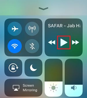 Play Button in Control Center on iPhone