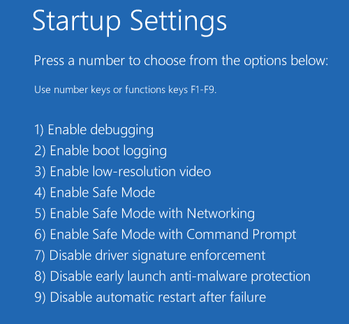 Start Up Settings Screen With Various Startup Options